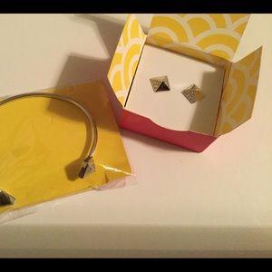 Origami Owl studs bangle bracelet & earrings